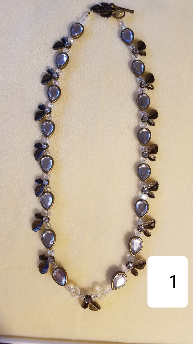 """Necklace, Hand Beaded Chain with Drop Crystal"" by Liana Pivirotto"