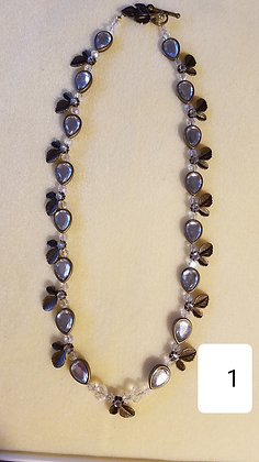 Necklace,Hand beaded chain with drop crystal