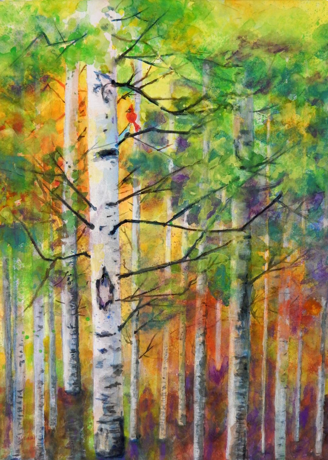 Red Bird in Forest, Nancy Williams