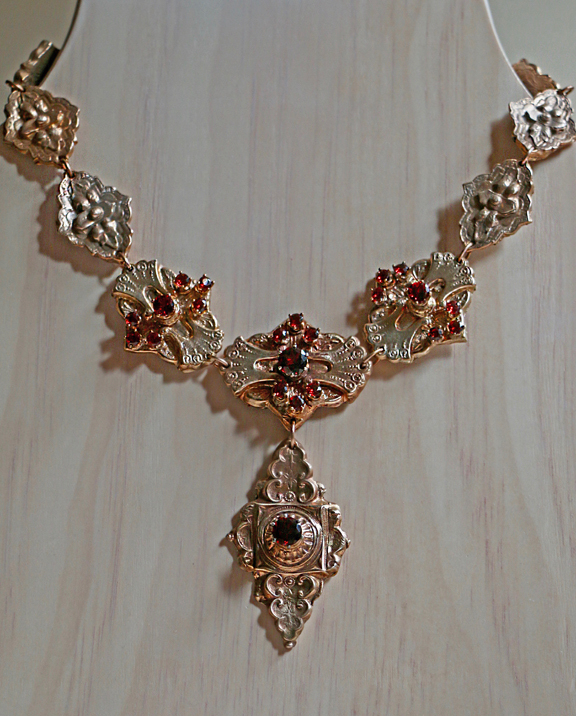 Bronze Garnet Necklace, M. Milano