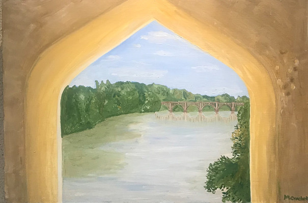 Megan-Lee-Crockett-Railroad Bridge.-Oil-
