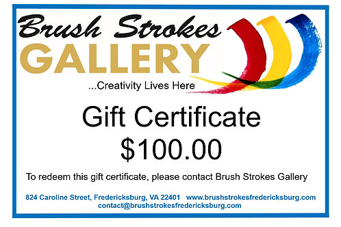 Brush Strokes Gallery Gift Certificate for $100.00