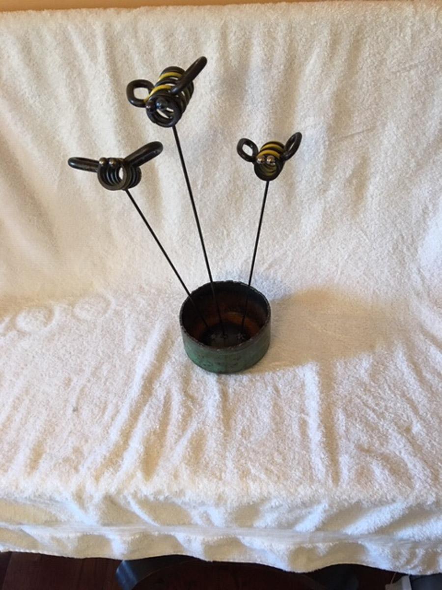 """Spring Bees"" Metal Sculpture, by Pete Zinck"