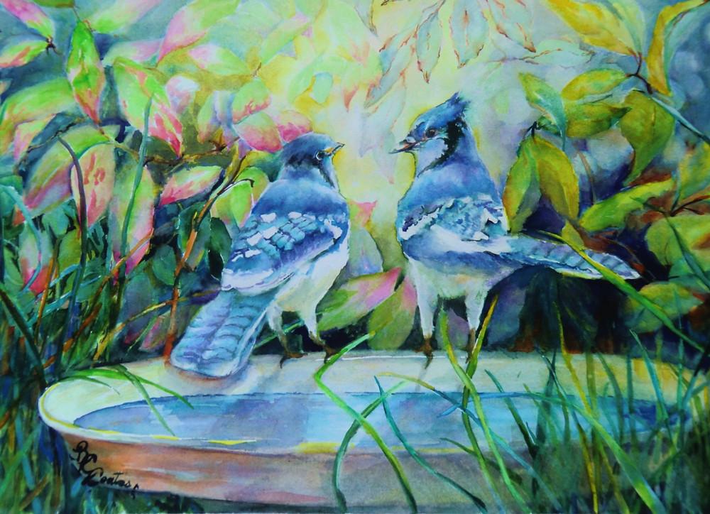 Talking a Blue Streak, Watercolor by Beverley Coates