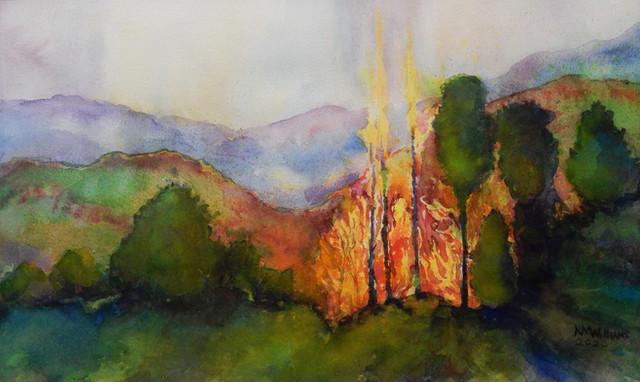 Nancy Williams_ Ablaze_watercolor_matted