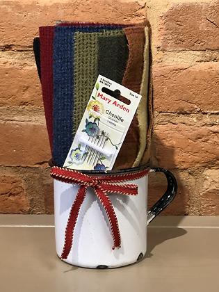 Enamel Mug with Wool and Needles