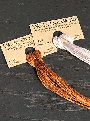 Weeks Dye Works Floss ~ Pecan thru White Lightning