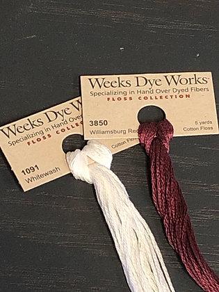 Weeks Dye Works Floss Whitewash thru Williamsburg Red
