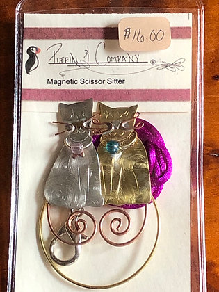 Puffin Company Cat magnetic scissors sitter