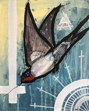 Welcome Swallow 200mmx 250mm, Acrylic on