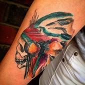 Watercolor Indian tattoo, fun piece than