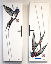 Pair of Welcome Swallows, price on appli