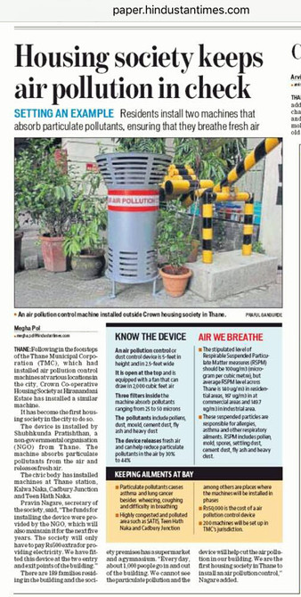 Hindustan Times - Housing Society Keeps Air Pollution in Check.