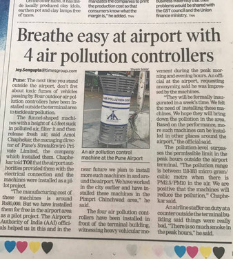 Breath Easy @ Pune Airport - Times of India.