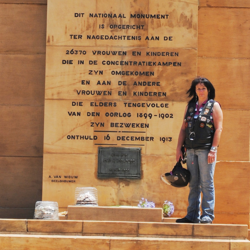 Sally-Ann Urtel in front of the monument.
