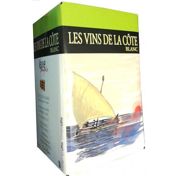 """BIB® 5L BLANC FONTAINE À VIN CÔTES CATALANES """"LES VINS DE LA CÔTE"""""""
