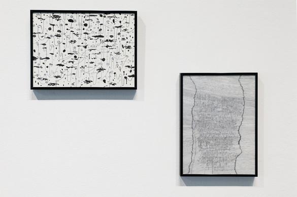 "Brandon Locher: Mazes to the Motherlode XV, Ink on Paper, 9"" x 12"", 2013 / Mazes to the Motherlode VI, Ink on Paper, 9"" x 12"", 2012"