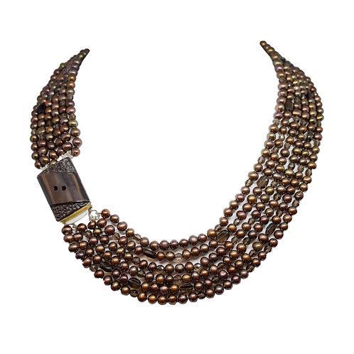 Six Strand Copper-Brown Pearl Necklace