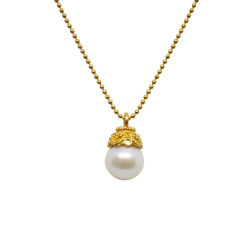 Gold Granulated Pearl Cap Necklace