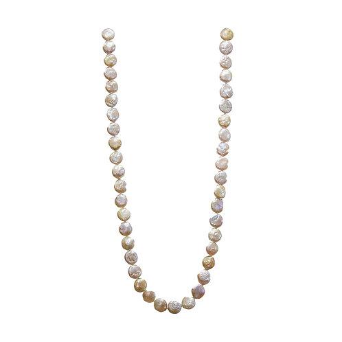 Multi Color Coin Pearl Necklace