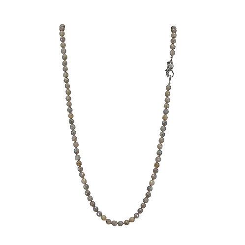 Labradorite and Diamond Bird Clasp Necklace