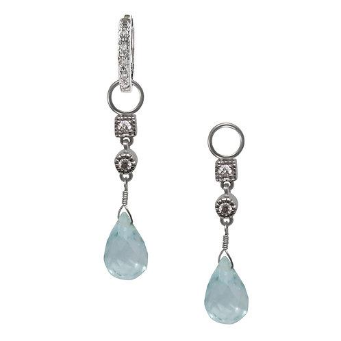 Diamond and Blue Topaz Briolette Charms
