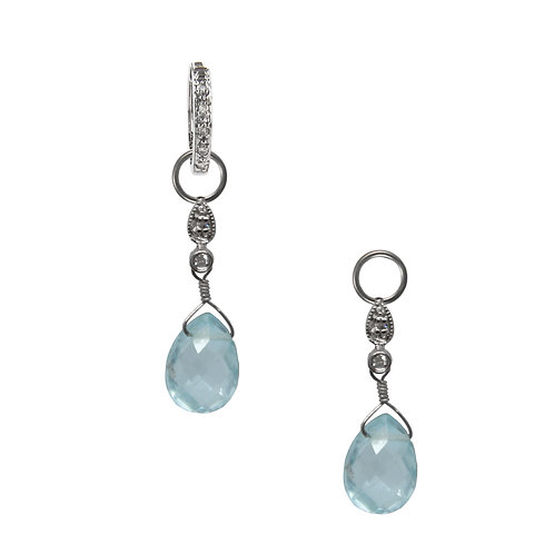 Diamond and Blue Topaz Briolette Charms