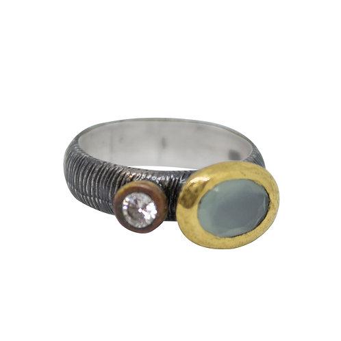 Aqua Marine and White Topaz Ring