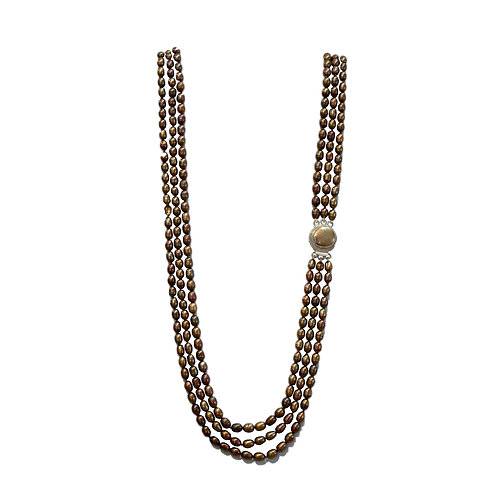 Triple Strand Brown Pearl Necklace