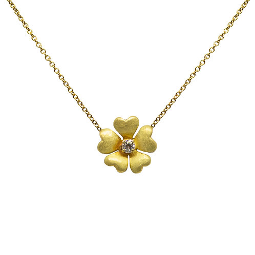 Gold Flower/Heart Petal Pendant Necklace