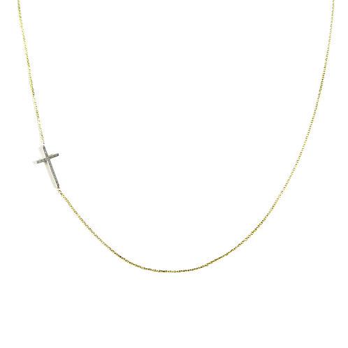 KC Designs Sideways Diamond Cross Necklace