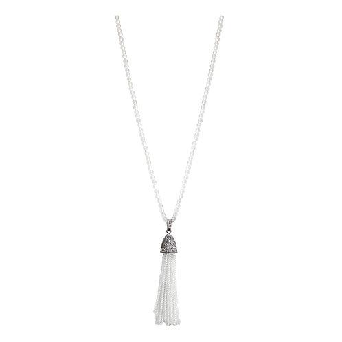 Matte Quartz Tassel Necklace