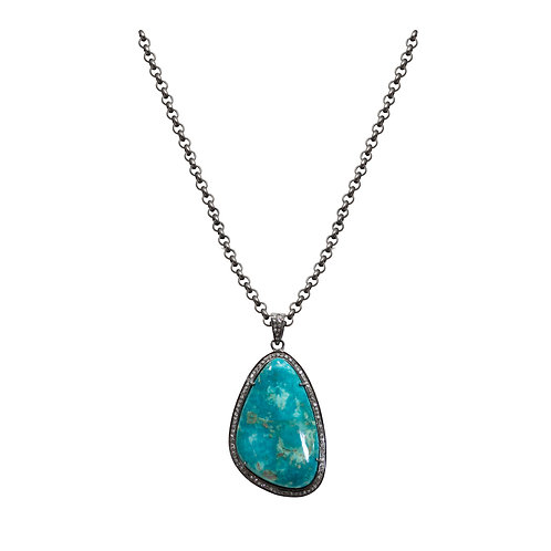 Turquoise and Diamonds Pendant Necklace