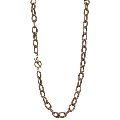 Sparkly Copper Colored Fabric Cord Necklace