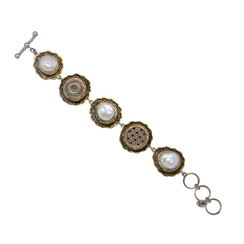 Pearl and Vintage Button Bracelet