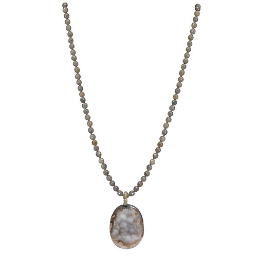 Labradorite and Druzy Pendent Necklace