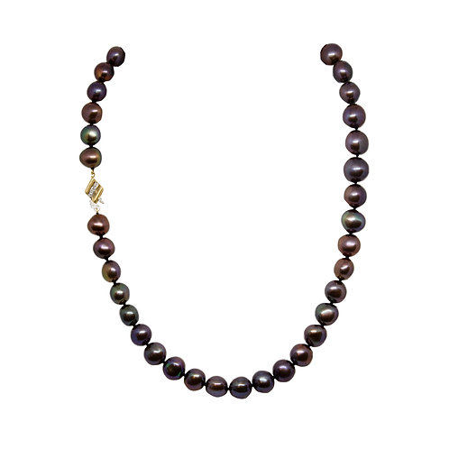 Purple-Brown Hued Pearl Necklace