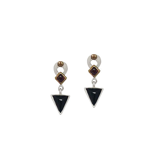 Onyx and Garnet Earrings