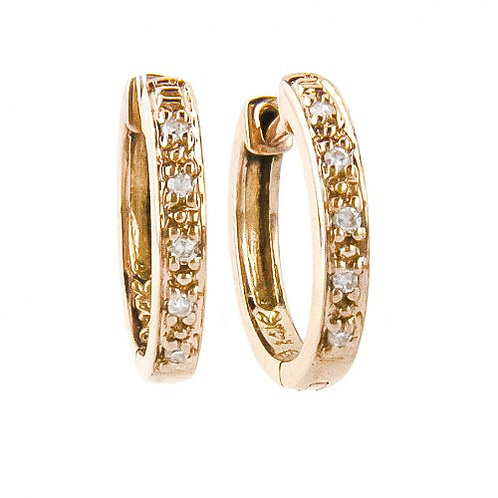 Round Gold Diamond Hoops