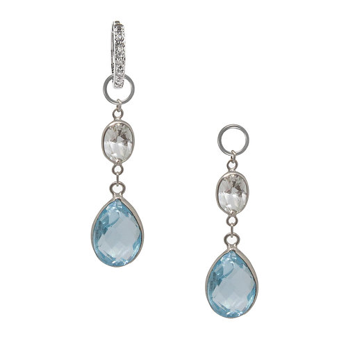 White and Blue Topaz Earring Charms