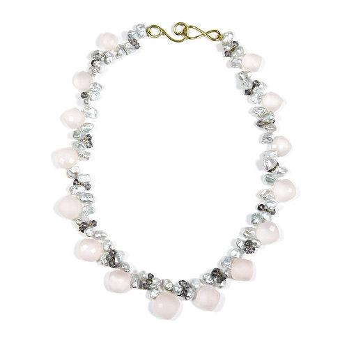 Rose Quartz, Iolite and Pearl Necklace