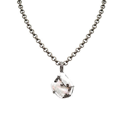 Pearl and Black Diamond Necklace
