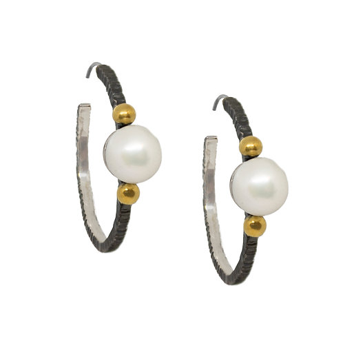 Pearl With Ball Accent Hoops
