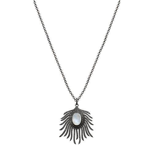 Rainbow Moonstone Diamond Pendant Necklace