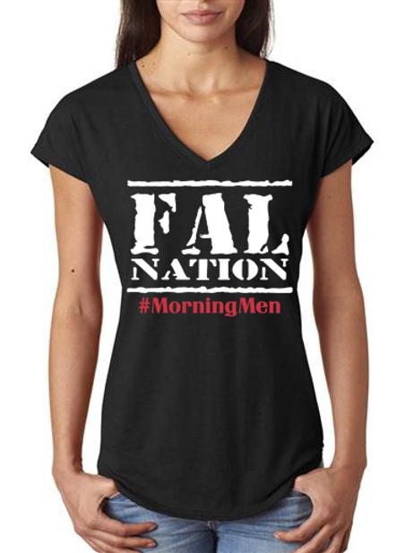 Black Ladies V-Neck Falwear T-shirt