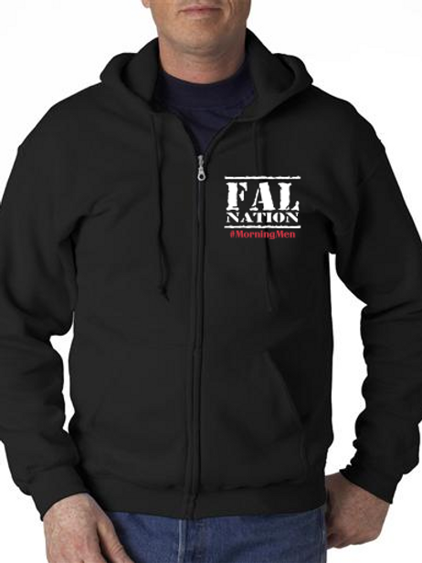 Black Full ZIp Fleece with FALNATION Embroidery