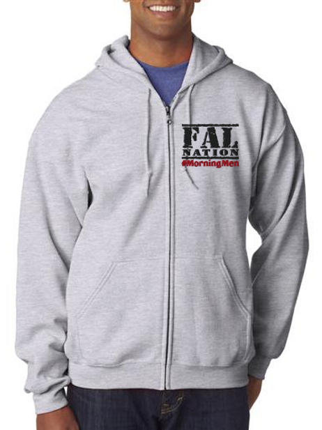 Grey Full Zip Fleece with FALNATION Embroidery