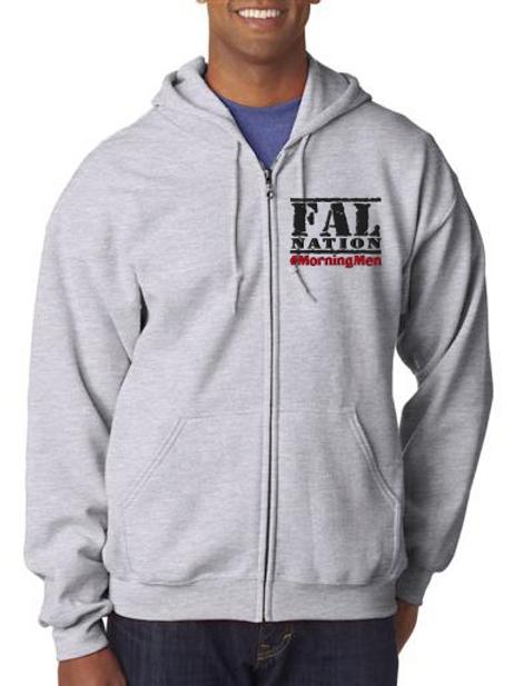 Grey Full Zip Fleece with FALNATION Embroidery