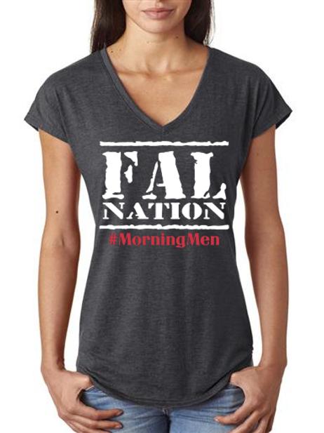 Grey Ladies V-neck FALwear T-shirt
