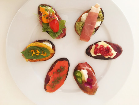 Sweet potato crostinis